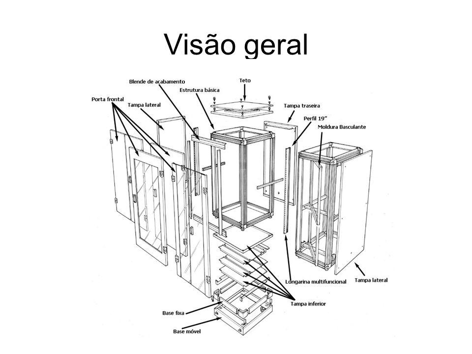 Racks abertos Utilizados em salas de acesso restrito; Não necessita de unidade auxiliar de ventilação; Montagem simplificada; Recomenda-se não instalar racks com dimensões inferiores a 36 UA.