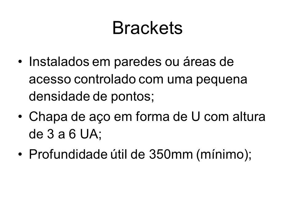 Brackets Instalados em paredes ou áreas de acesso controlado com uma pequena densidade de pontos; Chapa de aço em forma de U com altura de 3 a 6 UA; P