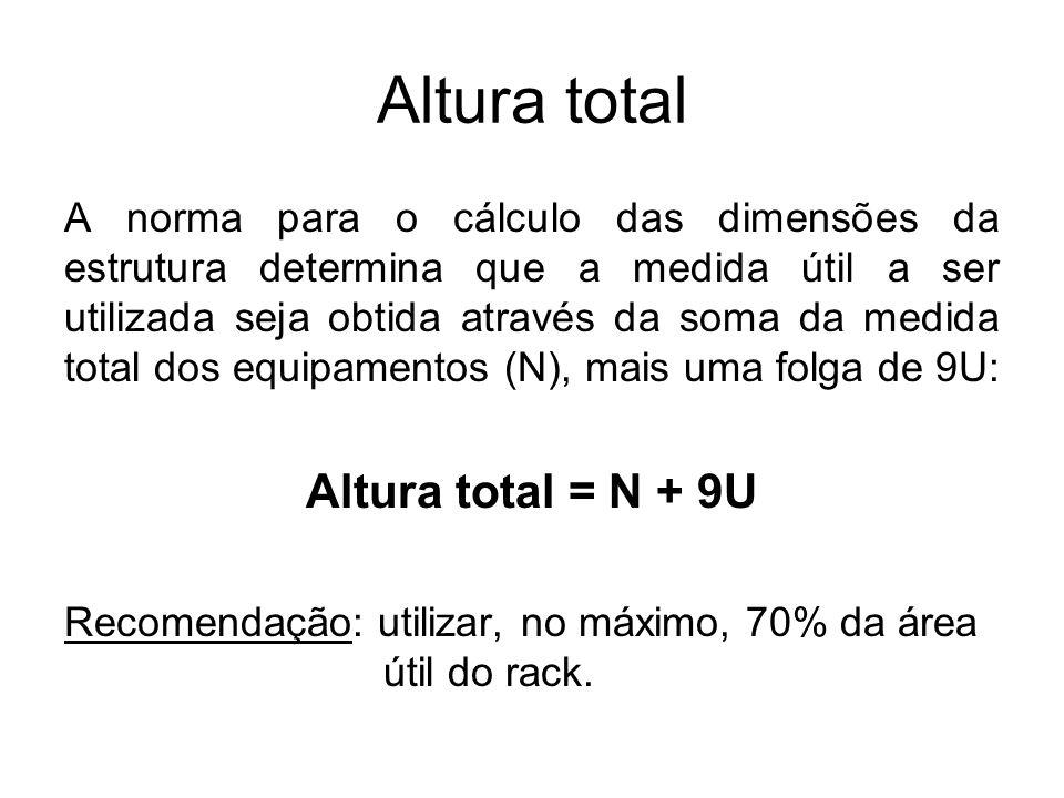 Altura total A norma para o cálculo das dimensões da estrutura determina que a medida útil a ser utilizada seja obtida através da soma da medida total