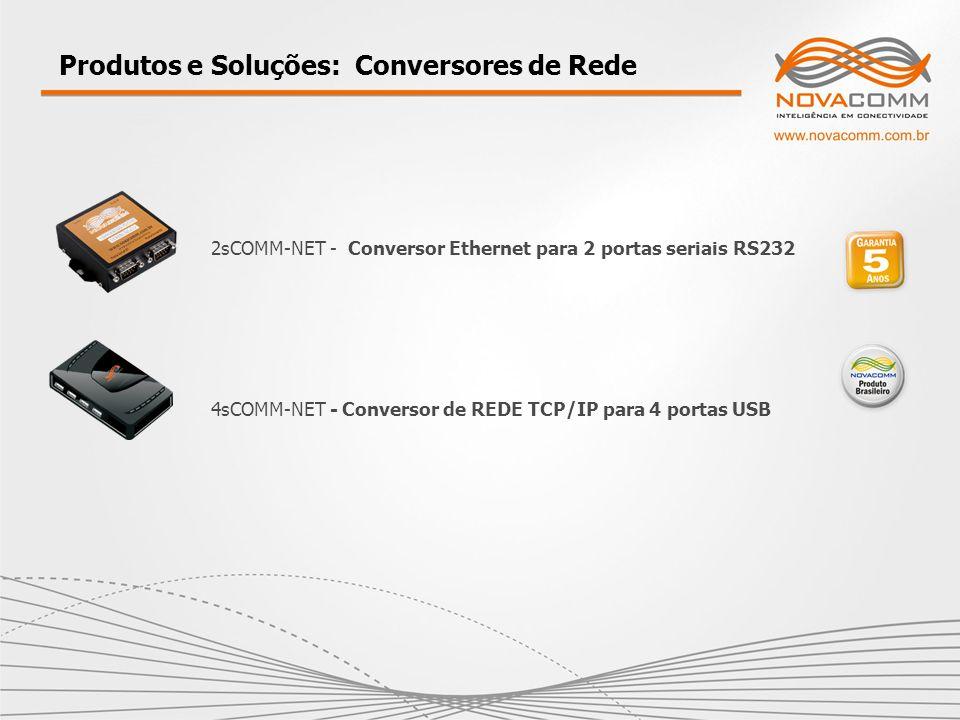Produtos e Soluções: Conversores de Rede 4sCOMM-NET - Conversor de REDE TCP/IP para 4 portas USB 2sCOMM-NET - Conversor Ethernet para 2 portas seriais