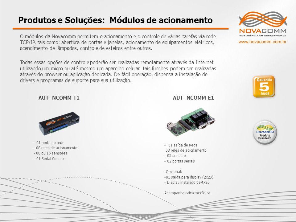 Produtos e Soluções: Módulos de acionamento O módulos da Novacomm permitem o acionamento e o controle de várias tarefas via rede TCP/IP, tais como: ab