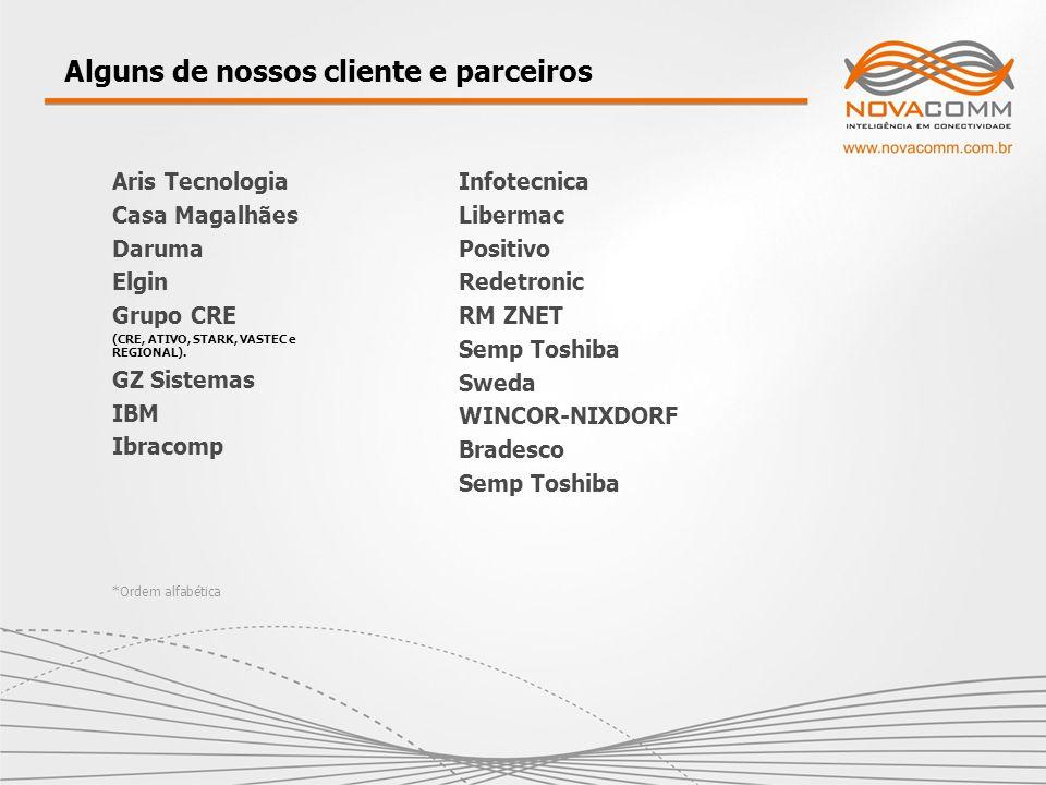 Alguns de nossos cliente e parceiros Aris Tecnologia Casa Magalhães Daruma Elgin Grupo CRE (CRE, ATIVO, STARK, VASTEC e REGIONAL). GZ Sistemas IBM Ibr
