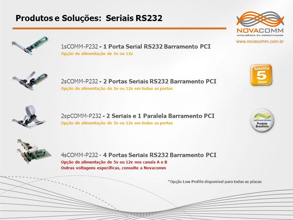 1sCOMM-P232 - 1 Porta Serial RS232 Barramento PCI Opção de alimentação de 5v ou 12v Produtos e Soluções: Seriais RS232 2sCOMM-P232 - 2 Portas Seriais