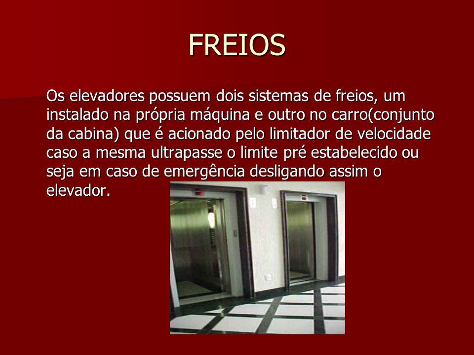 FREIOS Os elevadores possuem dois sistemas de freios, um instalado na própria máquina e outro no carro(conjunto da cabina) que é acionado pelo limitad