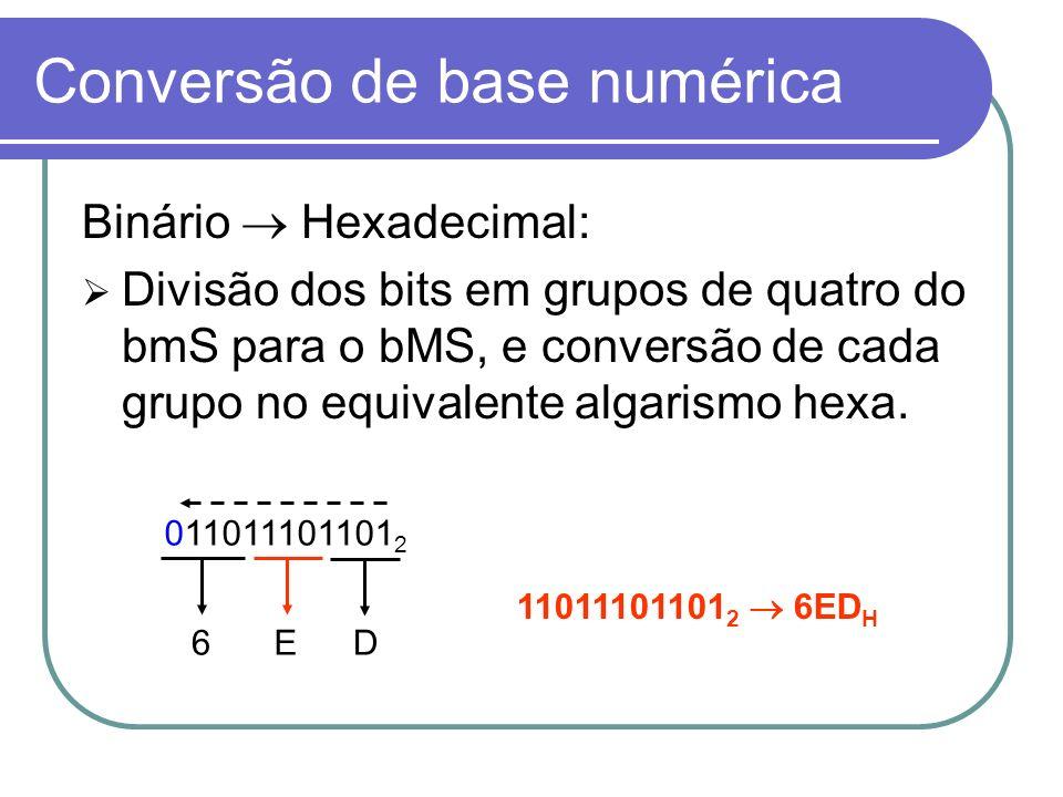 Binário Hexadecimal: Divisão dos bits em grupos de quatro do bmS para o bMS, e conversão de cada grupo no equivalente algarismo hexa. Conversão de bas