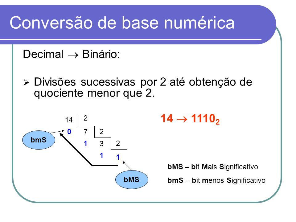Conversão de base numérica Decimal Binário: Divisões sucessivas por 2 até obtenção de quociente menor que 2. 14 2 7 02 3 12 1 1 14 1110 2 bMS bmS bMS
