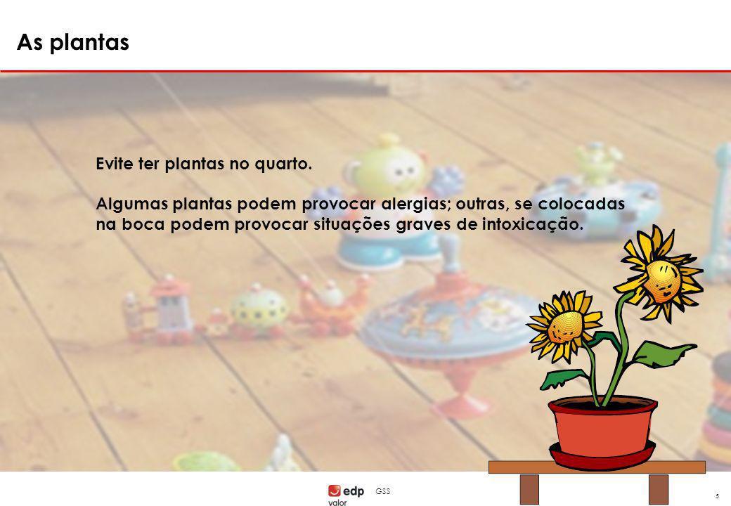 GSS 5 Evite ter plantas no quarto. Algumas plantas podem provocar alergias; outras, se colocadas na boca podem provocar situações graves de intoxicaçã