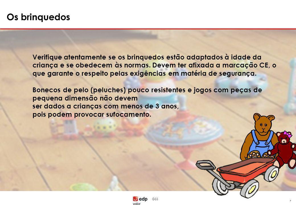 GSS 7 Verifique atentamente se os brinquedos estão adaptados à idade da criança e se obedecem às normas. Devem ter afixada a marcação CE, o que garant
