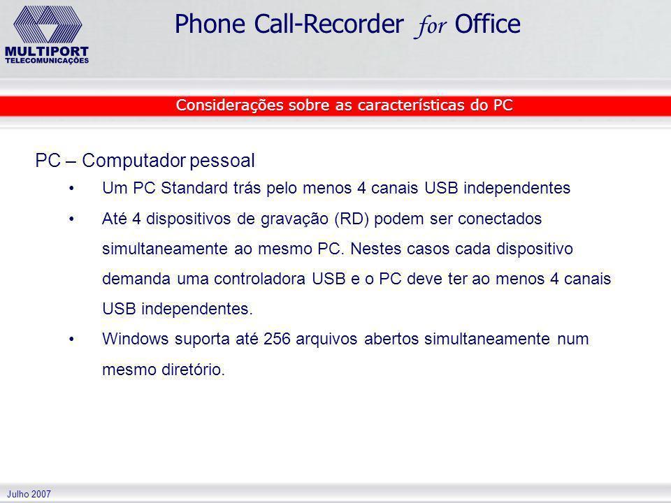 Julho 2007 Phone Call-Recorder for Office PC – Computador pessoal Um PC Standard trás pelo menos 4 canais USB independentes Até 4 dispositivos de grav
