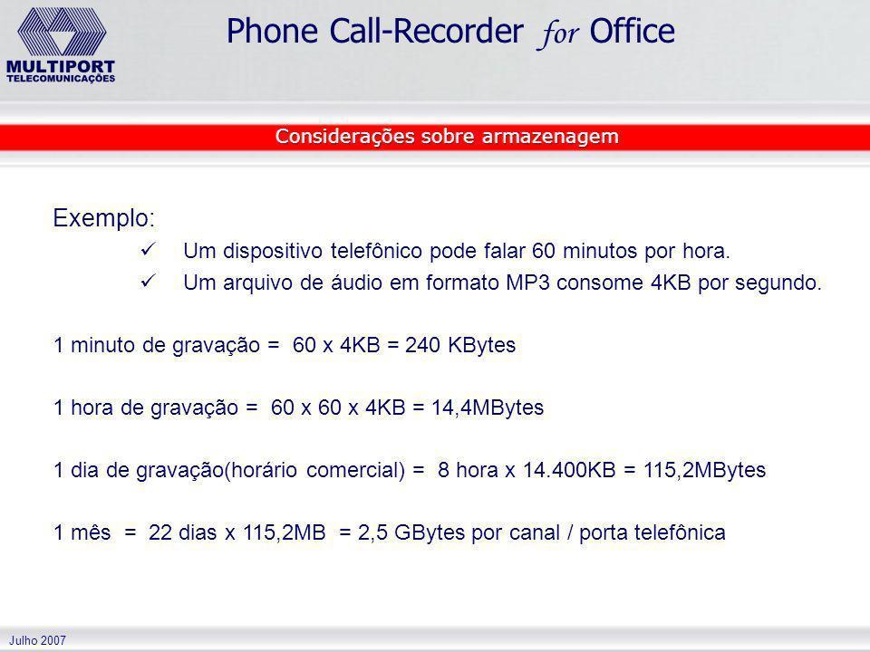 Julho 2007 Phone Call-Recorder for Office Exemplo: Um dispositivo telefônico pode falar 60 minutos por hora. Um arquivo de áudio em formato MP3 consom