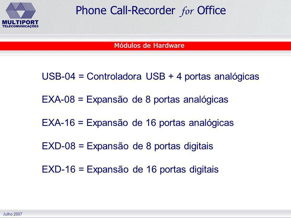 Julho 2007 Phone Call-Recorder for Office USB-04 = Controladora USB + 4 portas analógicas EXA-08 = Expansão de 8 portas analógicas EXA-16 = Expansão d