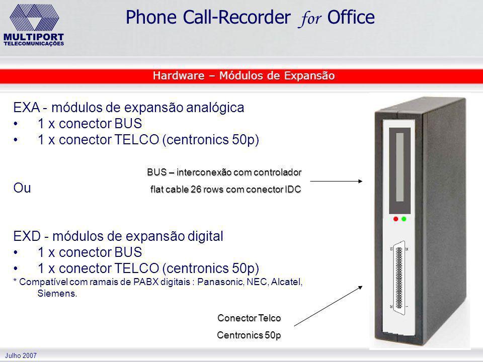 Julho 2007 Phone Call-Recorder for Office EXA - módulos de expansão analógica 1 x conector BUS 1 x conector TELCO (centronics 50p) Ou EXD - módulos de