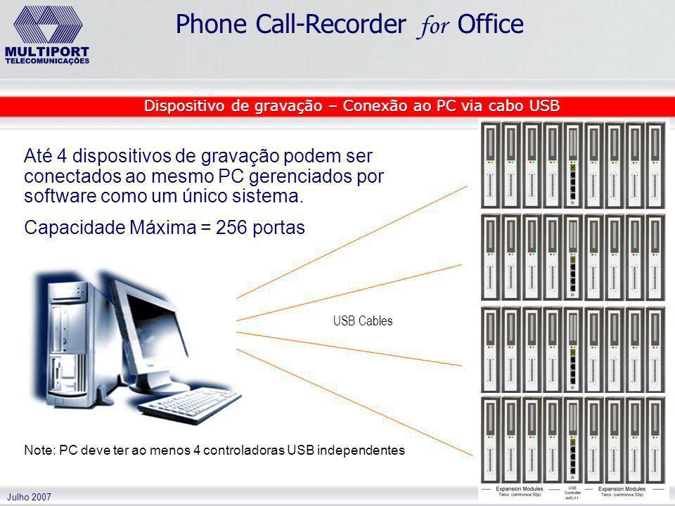 Julho 2007 Phone Call-Recorder for Office Até 4 dispositivos de gravação podem ser conectados ao mesmo PC gerenciados por software como um único siste
