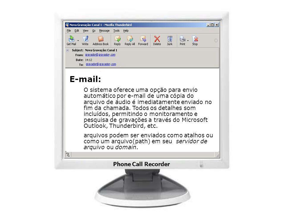 Phone Call Recorder E-mail: O sistema oferece uma opção para envio automático por e-mail de uma cópia do arquivo de áudio é imediatamente enviado no f