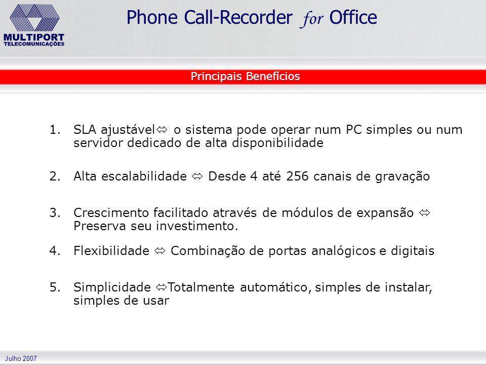 Julho 2007 Phone Call-Recorder for Office 1. 1.SLA ajustável o sistema pode operar num PC simples ou num servidor dedicado de alta disponibilidade 2.