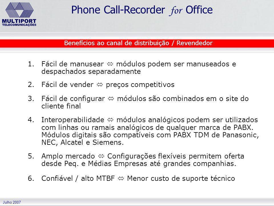 Julho 2007 Phone Call-Recorder for Office 1. 1.Fácil de manusear módulos podem ser manuseados e despachados separadamente 2. 2.Fácil de vender preços