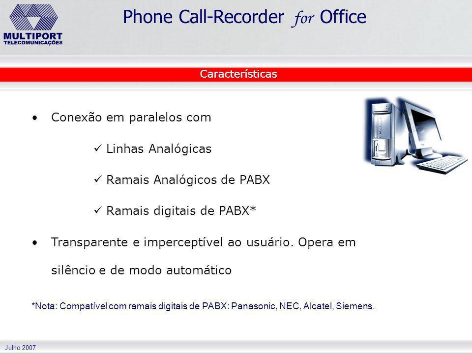 Julho 2007 Phone Call-Recorder for Office Conexão em paralelos com Linhas Analógicas Ramais Analógicos de PABX Ramais digitais de PABX* Transparente e