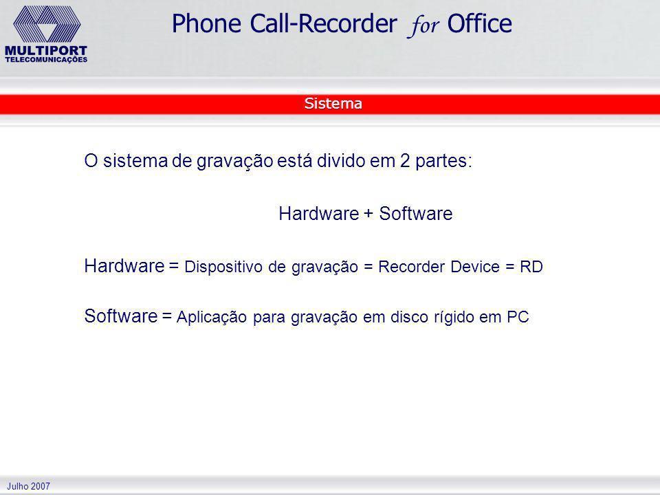Julho 2007 Phone Call-Recorder for Office O sistema de gravação está divido em 2 partes: Hardware + Software Hardware = Dispositivo de gravação = Reco
