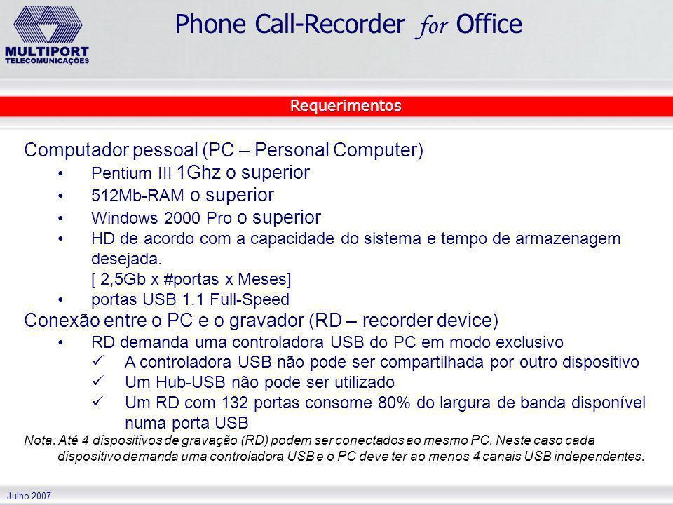 Julho 2007 Phone Call-Recorder for Office Computador pessoal (PC – Personal Computer) Pentium III 1Ghz o superior 512Mb-RAM o superior Windows 2000 Pr