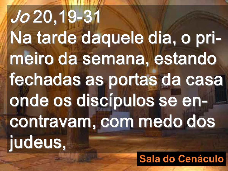 O Cenáculo é o lugar onde se reuniram os apóstolos depois da Ressurreição Aqui foram as duas aparições do evangelho de hoje cenáculo