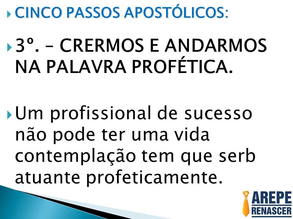 CINCO PASSOS APOSTÓLICOS: CINCO PASSOS APOSTÓLICOS: 3º. – CRERMOS E ANDARMOS NA PALAVRA PROFÉTICA. Um profissional de sucesso não pode ter uma vida co