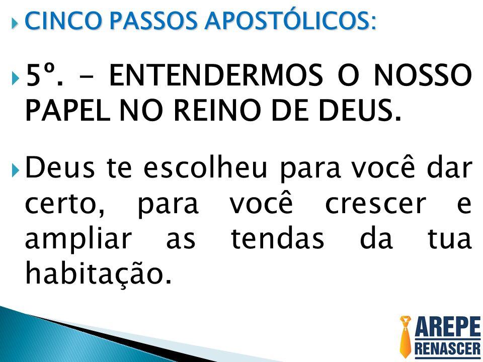 CINCO PASSOS APOSTÓLICOS: CINCO PASSOS APOSTÓLICOS: 5º. - ENTENDERMOS O NOSSO PAPEL NO REINO DE DEUS. Deus te escolheu para você dar certo, para você