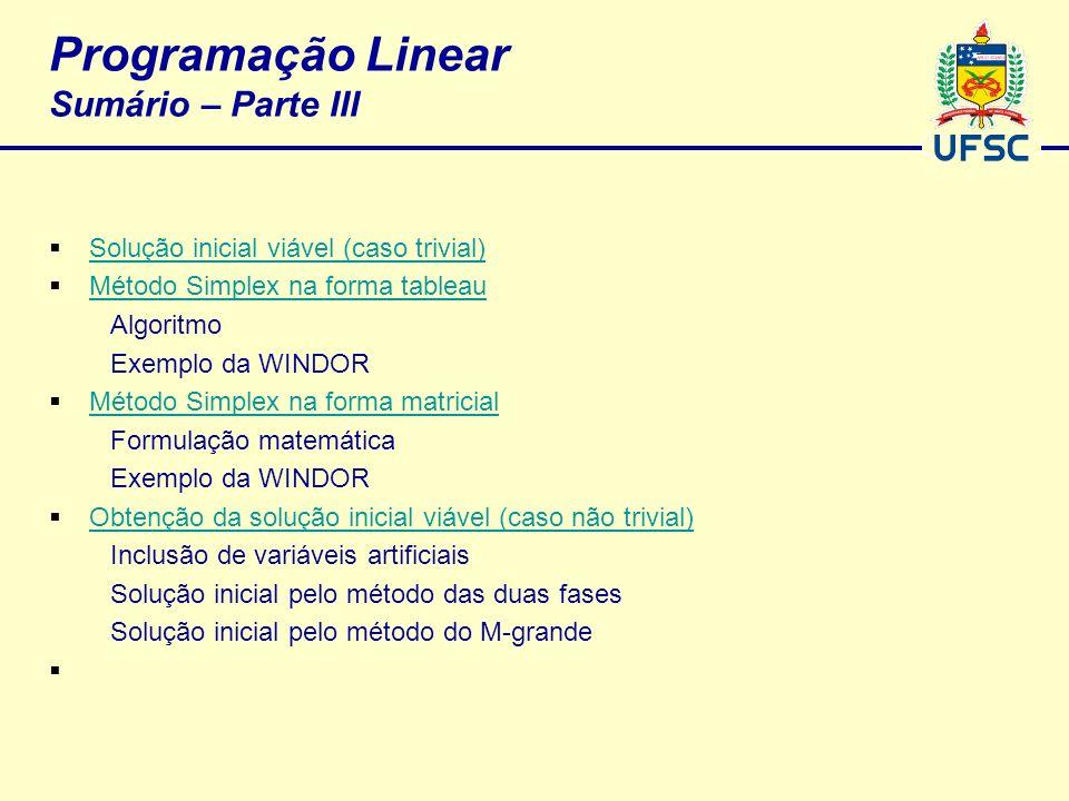 Programação Linear Sumário – Parte III Solução inicial viável (caso trivial) Método Simplex na forma tableau Algoritmo Exemplo da WINDOR Método Simple