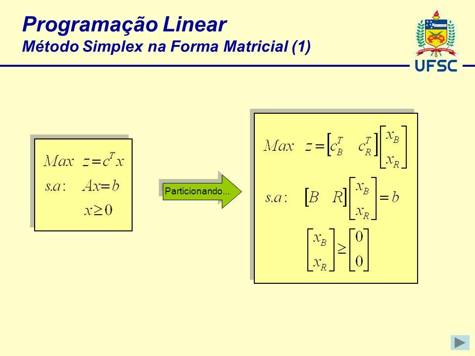 Programação Linear Método Simplex na Forma Matricial (1) Particionando...