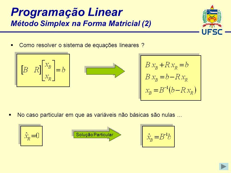Programação Linear Método Simplex na Forma Matricial (2) Como resolver o sistema de equações lineares ? No caso particular em que as variáveis não bás