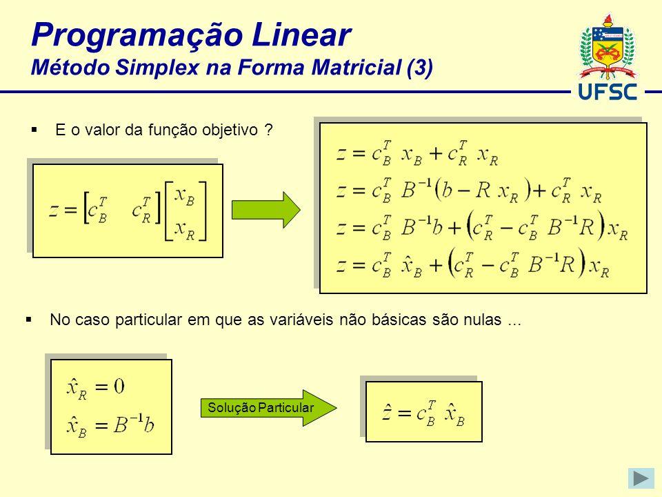 Programação Linear Método Simplex na Forma Matricial (3) E o valor da função objetivo ? No caso particular em que as variáveis não básicas são nulas..