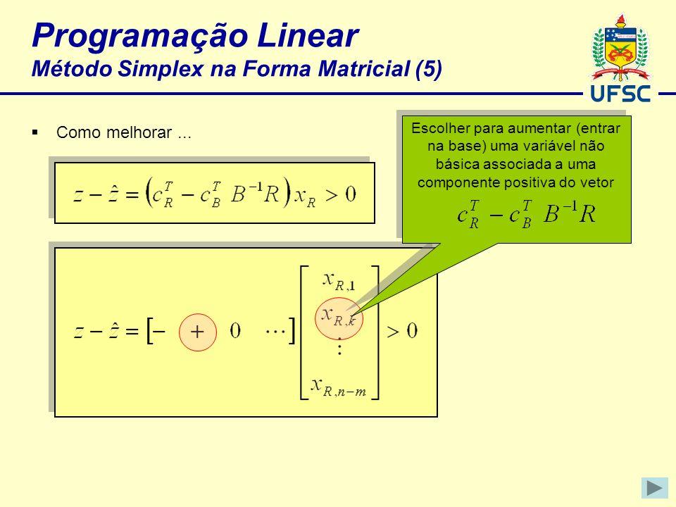 Programação Linear Método Simplex na Forma Matricial (5) Como melhorar... Escolher para aumentar (entrar na base) uma variável não básica associada a