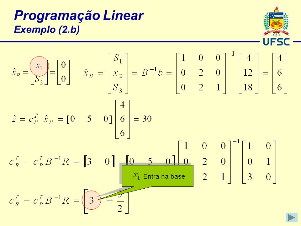 Programação Linear Exemplo (2.b) Entra na base