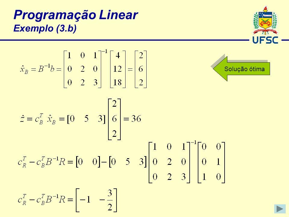 Programação Linear Exemplo (3.b) Solução ótima