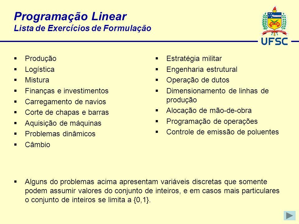 Programação Linear Lista de Exercícios de Formulação Produção Logística Mistura Finanças e investimentos Carregamento de navios Corte de chapas e barr