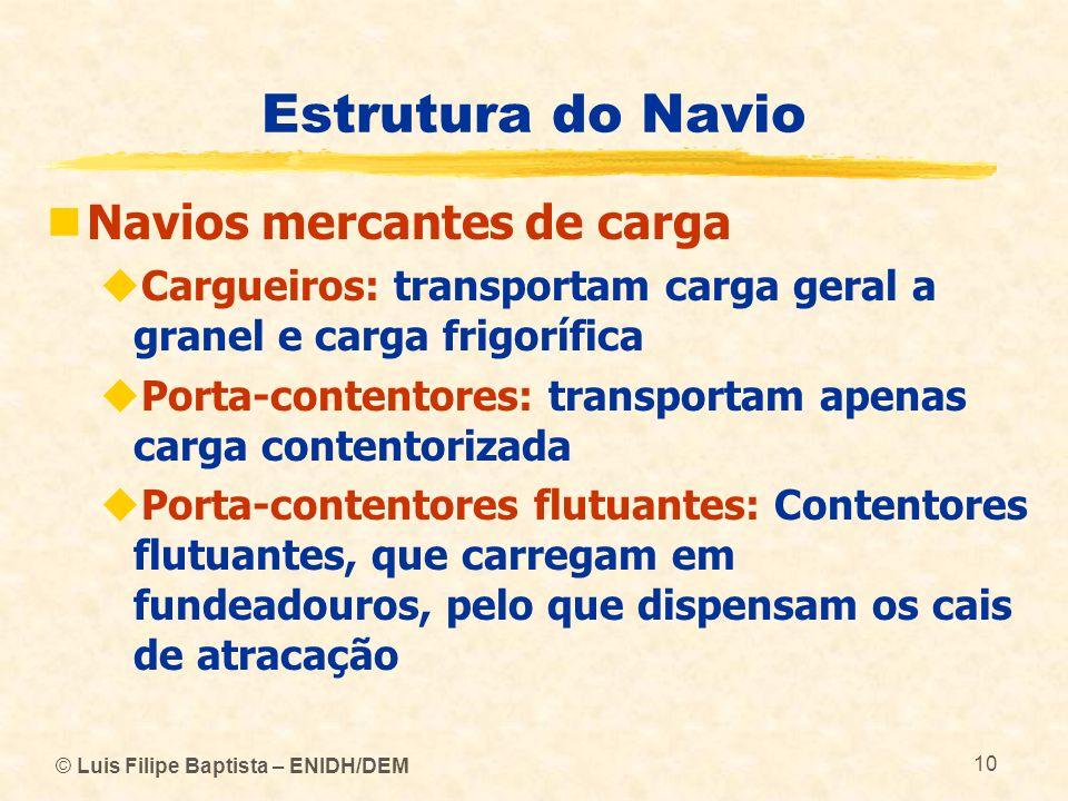 © Luis Filipe Baptista – ENIDH/DEM 10 Estrutura do Navio Navios mercantes de carga Cargueiros: transportam carga geral a granel e carga frigorífica Po