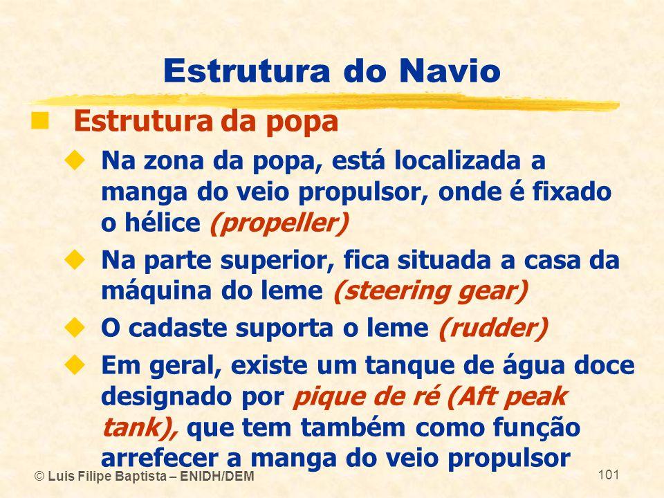 © Luis Filipe Baptista – ENIDH/DEM 101 Estrutura do Navio Estrutura da popa Na zona da popa, está localizada a manga do veio propulsor, onde é fixado