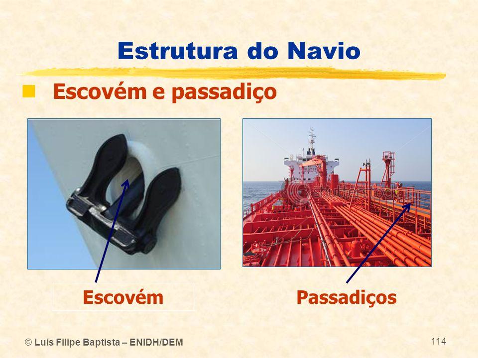 © Luis Filipe Baptista – ENIDH/DEM 114 Estrutura do Navio Escovém e passadiço Escovém Passadiços
