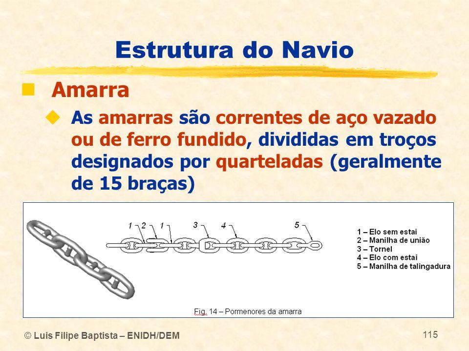 © Luis Filipe Baptista – ENIDH/DEM 115 Estrutura do Navio Amarra As amarras são correntes de aço vazado ou de ferro fundido, divididas em troços desig