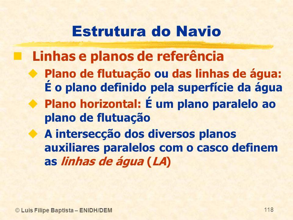 © Luis Filipe Baptista – ENIDH/DEM 118 Estrutura do Navio Linhas e planos de referência Plano de flutuação ou das linhas de água: É o plano definido p
