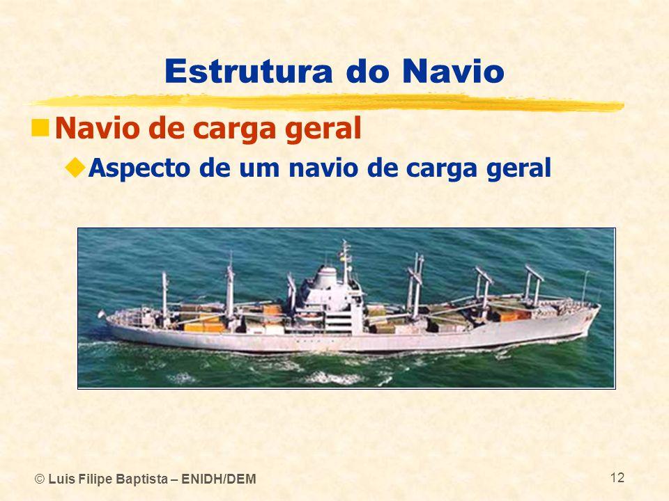 © Luis Filipe Baptista – ENIDH/DEM 12 Estrutura do Navio Navio de carga geral Aspecto de um navio de carga geral