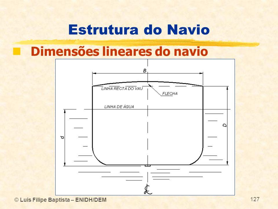 © Luis Filipe Baptista – ENIDH/DEM 127 Estrutura do Navio Dimensões lineares do navio