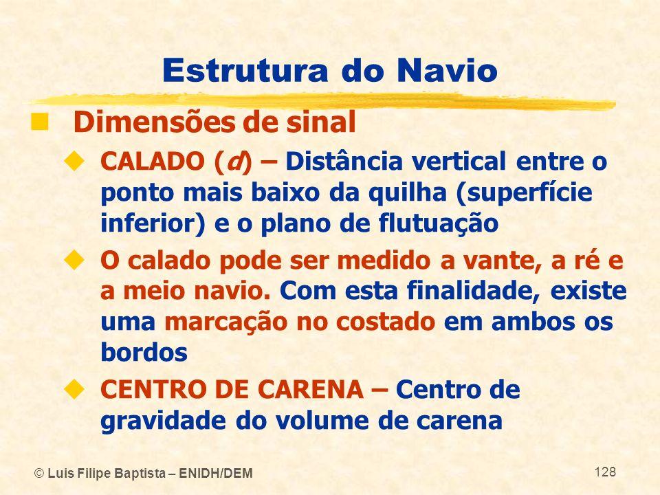 © Luis Filipe Baptista – ENIDH/DEM 128 Estrutura do Navio Dimensões de sinal CALADO (d) – Distância vertical entre o ponto mais baixo da quilha (super