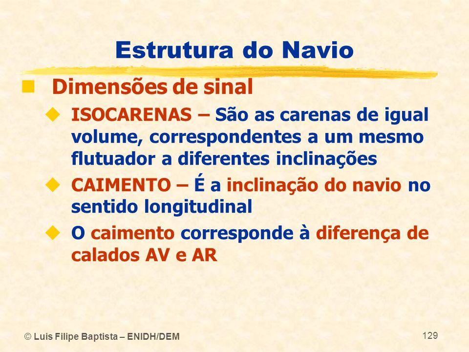© Luis Filipe Baptista – ENIDH/DEM 129 Estrutura do Navio Dimensões de sinal ISOCARENAS – São as carenas de igual volume, correspondentes a um mesmo f