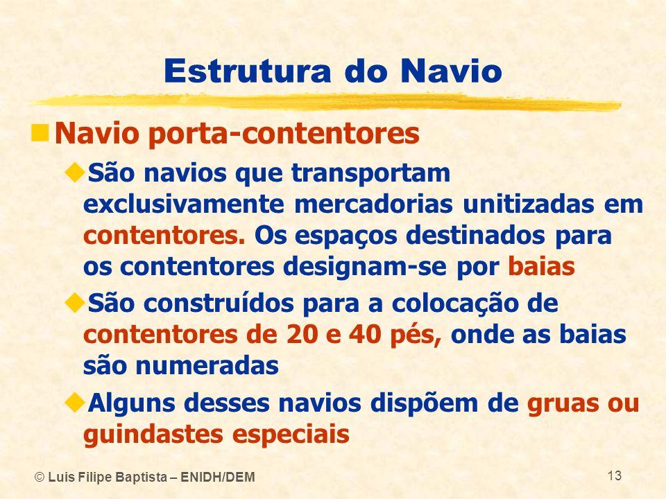© Luis Filipe Baptista – ENIDH/DEM 13 Estrutura do Navio Navio porta-contentores São navios que transportam exclusivamente mercadorias unitizadas em c