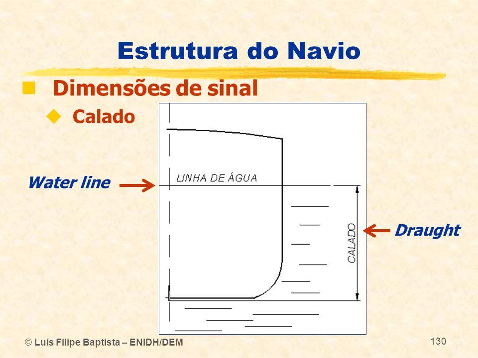 © Luis Filipe Baptista – ENIDH/DEM 130 Estrutura do Navio Dimensões de sinal Calado Water line Draught