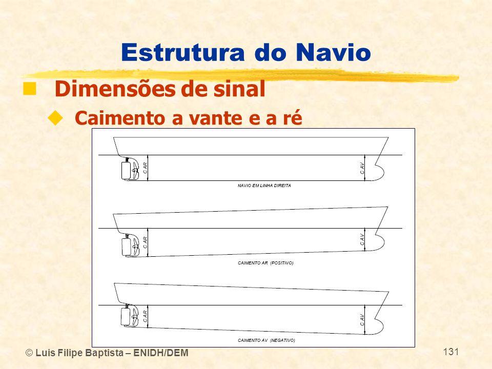 © Luis Filipe Baptista – ENIDH/DEM 131 Estrutura do Navio Dimensões de sinal Caimento a vante e a ré