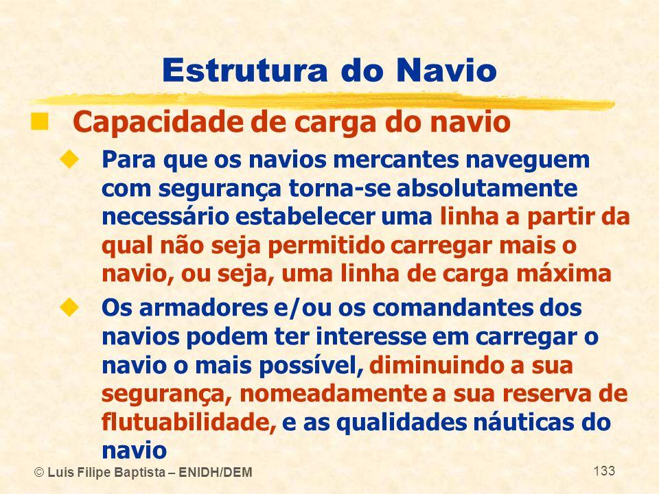© Luis Filipe Baptista – ENIDH/DEM 133 Estrutura do Navio Capacidade de carga do navio Para que os navios mercantes naveguem com segurança torna-se ab