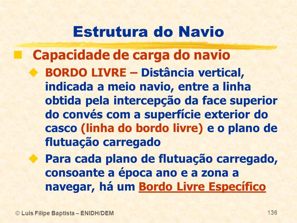 © Luis Filipe Baptista – ENIDH/DEM 136 Estrutura do Navio Capacidade de carga do navio BORDO LIVRE – Distância vertical, indicada a meio navio, entre