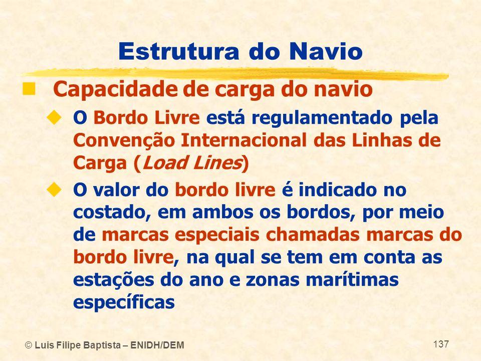 © Luis Filipe Baptista – ENIDH/DEM 137 Estrutura do Navio Capacidade de carga do navio O Bordo Livre está regulamentado pela Convenção Internacional d