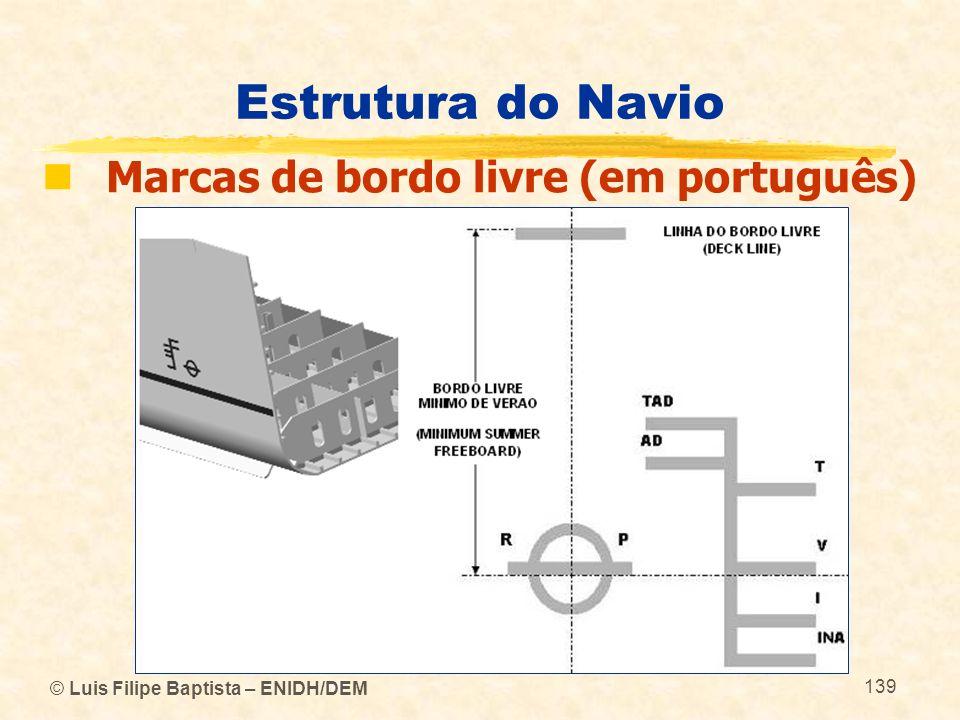 © Luis Filipe Baptista – ENIDH/DEM 139 Estrutura do Navio Marcas de bordo livre (em português)